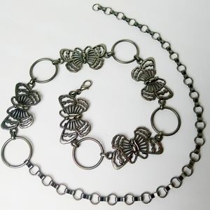 Accessories - Vintage Butterfly Chain Belt Burnished Silver OS